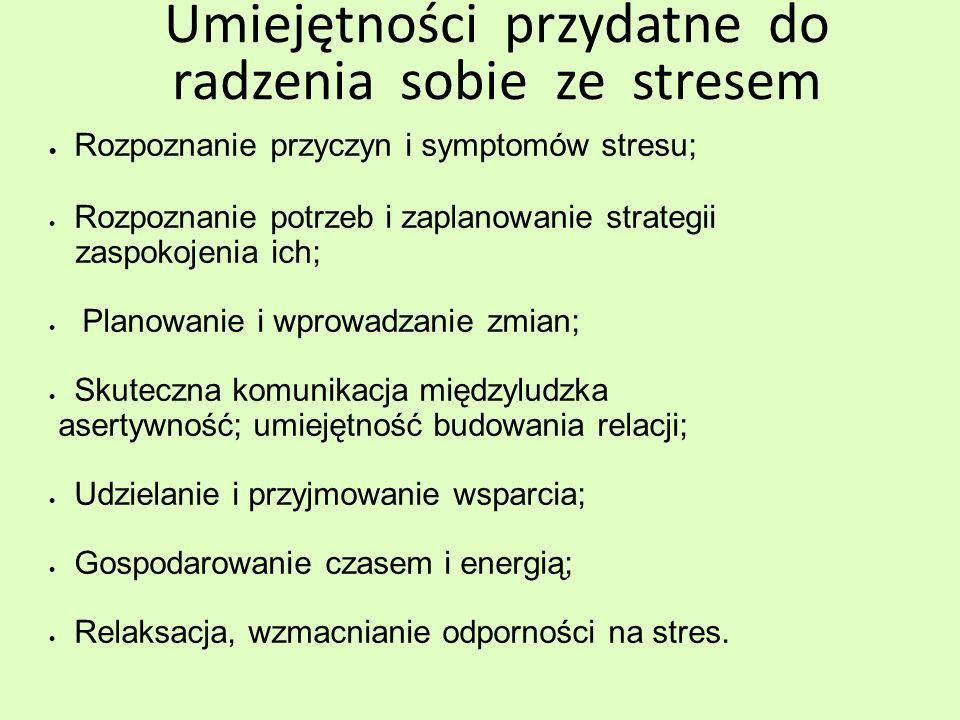 Umiejętności przydatne do radzenia sobie ze stresem Rozpoznanie przyczyn i symptomów stresu; Rozpoznanie potrzeb i zaplanowanie strategii zaspokojenia