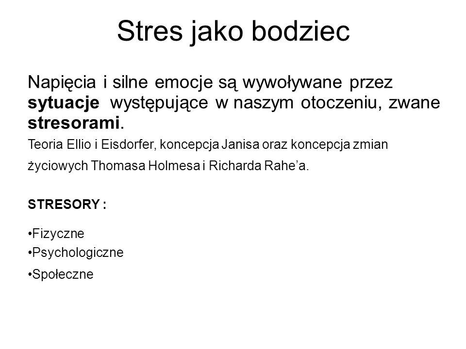 Stres jako bodziec Napięcia i silne emocje są wywoływane przez sytuacje występujące w naszym otoczeniu, zwane stresorami. Teoria Ellio i Eisdorfer, ko
