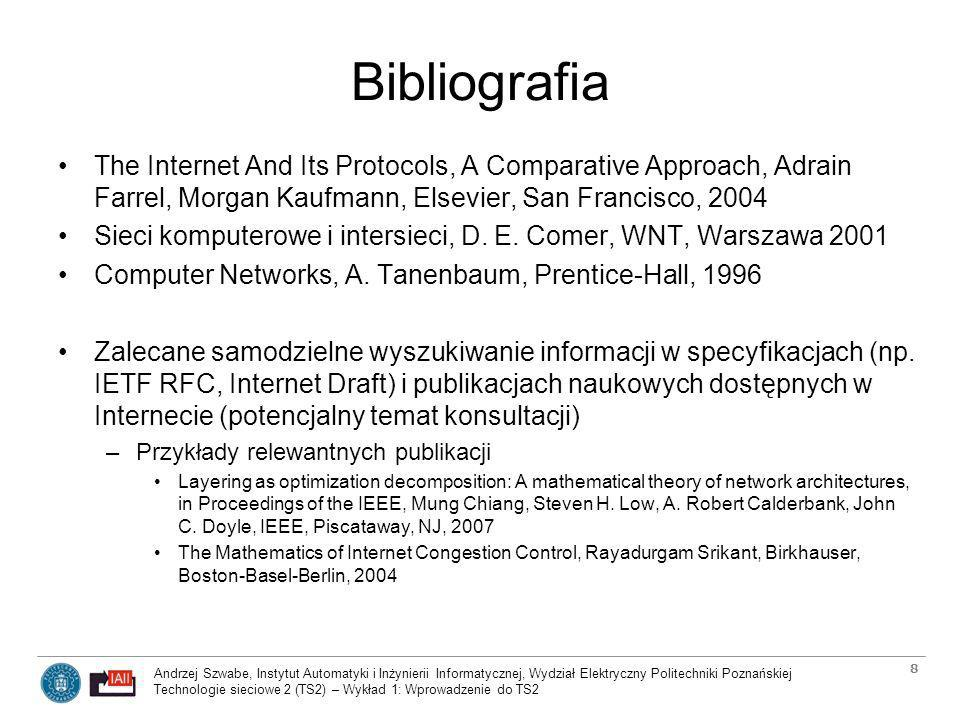 Andrzej Szwabe, Instytut Automatyki i Inżynierii Informatycznej, Wydział Elektryczny Politechniki Poznańskiej Technologie sieciowe 2 (TS2) – Wykład 1: Wprowadzenie do TS2 29 Wykład 3: Sieci bezprzewodowe WLAN i ich wydajność Przegląd grupy standardów IEEE 802.11 –802.11b, 802.11g, 802.11a i 802.11n oraz inne specyfikacje IEEE 802.11 Warstwa fizyczna sieci IEEE 802.11 –Specyfika radiowego medium transmisji –Typy modulacji fali radiowej stosowane w sieciach 802.11 Usługi składowe (services) sieci IEEE 802.11 –Sieci typu infrastrukturalnego, sieci ad-hoc i sieci MANET –Pojęcie IEEE 802.11 Distributed System –Distribution System Services i Station Services Mechanizmy warstwy łącza danych i enkapsulacji w sieciach IEEE 802.11 –Warstwa łącza danych w standardach rodziny IEEE 802.11 –Enkapsulacja pakietów IP w ramki 802.11 –Adresy i typy ramek stosowane w sieciach 802.11 Wielodostęp w sieciach 802.11 –Specyfika wielodostępu w sieciach radiowych –Zarządzanie dostępem do zasobów w warstwie MAC –Metoda wielodostępu CSMA/CA –Interwały czasowe między ramkami 802.11 –Mechanizm RTS/CTS