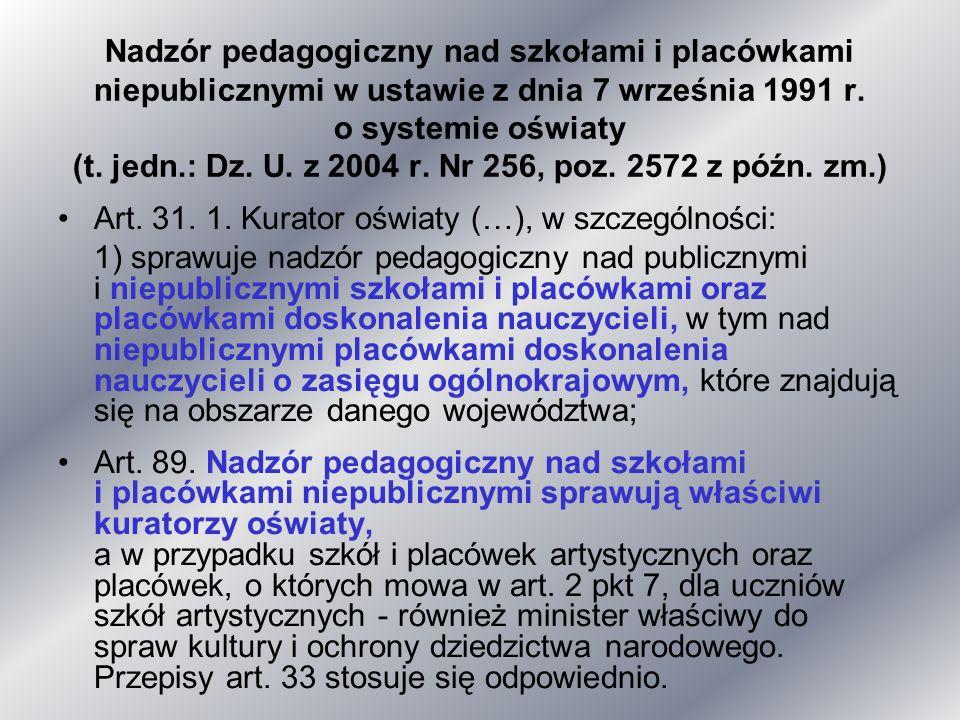 Nadzór pedagogiczny nad szkołami i placówkami niepublicznymi w ustawie z dnia 7 września 1991 r. o systemie oświaty (t. jedn.: Dz. U. z 2004 r. Nr 256