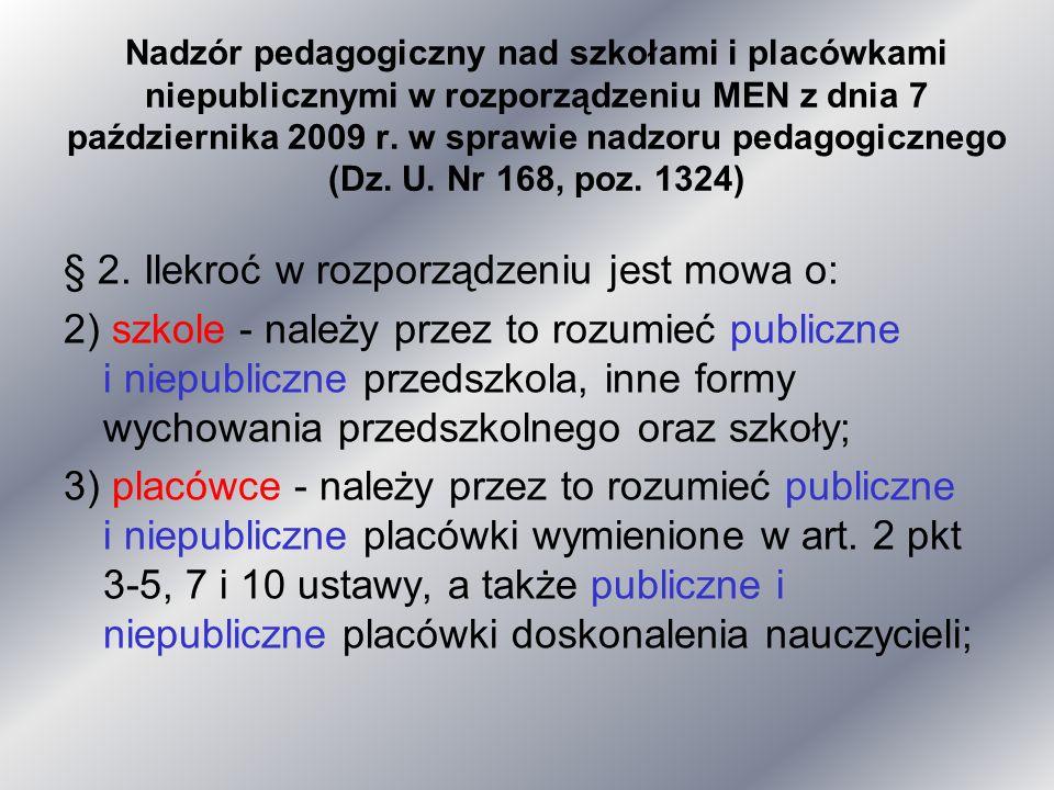 Nadzór pedagogiczny nad szkołami i placówkami niepublicznymi w rozporządzeniu MEN z dnia 7 października 2009 r. w sprawie nadzoru pedagogicznego (Dz.