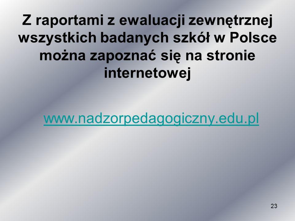 Z raportami z ewaluacji zewnętrznej wszystkich badanych szkół w Polsce można zapoznać się na stronie internetowej www.nadzorpedagogiczny.edu.pl 23