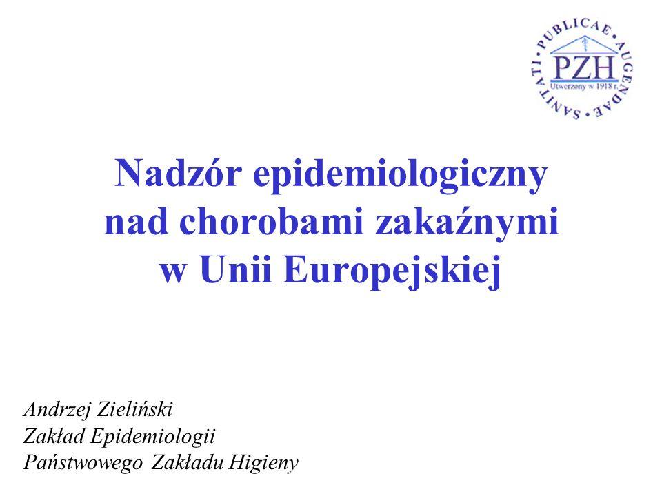 Nadzór epidemiologiczny nad chorobami zakaźnymi w Unii Europejskiej Andrzej Zieliński Zakład Epidemiologii Państwowego Zakładu Higieny