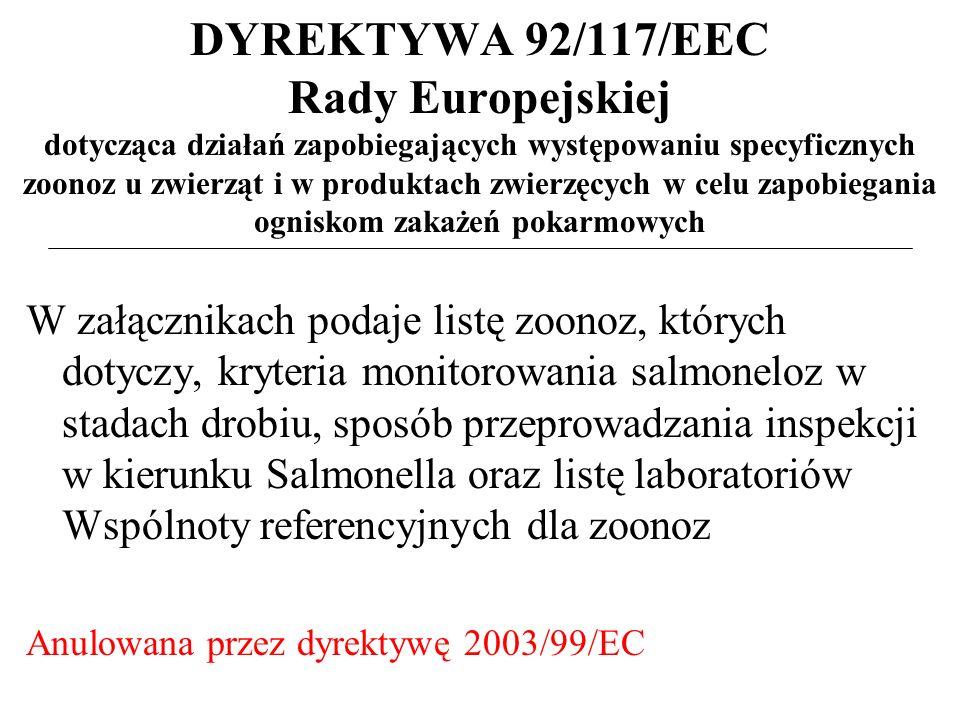 DYREKTYWA 92/117/EEC Rady Europejskiej dotycząca działań zapobiegających występowaniu specyficznych zoonoz u zwierząt i w produktach zwierzęcych w celu zapobiegania ogniskom zakażeń pokarmowych W załącznikach podaje listę zoonoz, których dotyczy, kryteria monitorowania salmoneloz w stadach drobiu, sposób przeprowadzania inspekcji w kierunku Salmonella oraz listę laboratoriów Wspólnoty referencyjnych dla zoonoz Anulowana przez dyrektywę 2003/99/EC