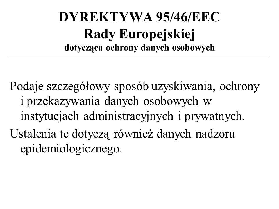 DYREKTYWA 95/46/EEC Rady Europejskiej dotycząca ochrony danych osobowych Podaje szczegółowy sposób uzyskiwania, ochrony i przekazywania danych osobowych w instytucjach administracyjnych i prywatnych.
