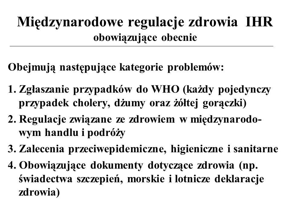Międzynarodowe regulacje zdrowia IHR obowiązujące obecnie Obejmują następujące kategorie problemów: 1.
