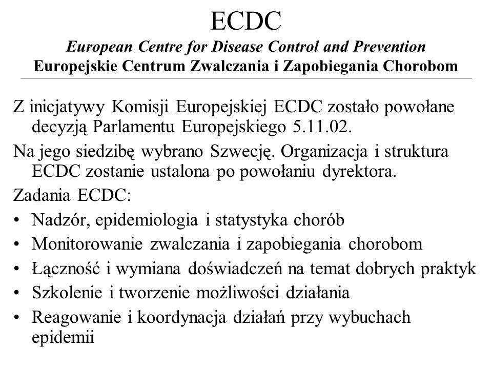 ECDC European Centre for Disease Control and Prevention Europejskie Centrum Zwalczania i Zapobiegania Chorobom Z inicjatywy Komisji Europejskiej ECDC zostało powołane decyzją Parlamentu Europejskiego 5.11.02.