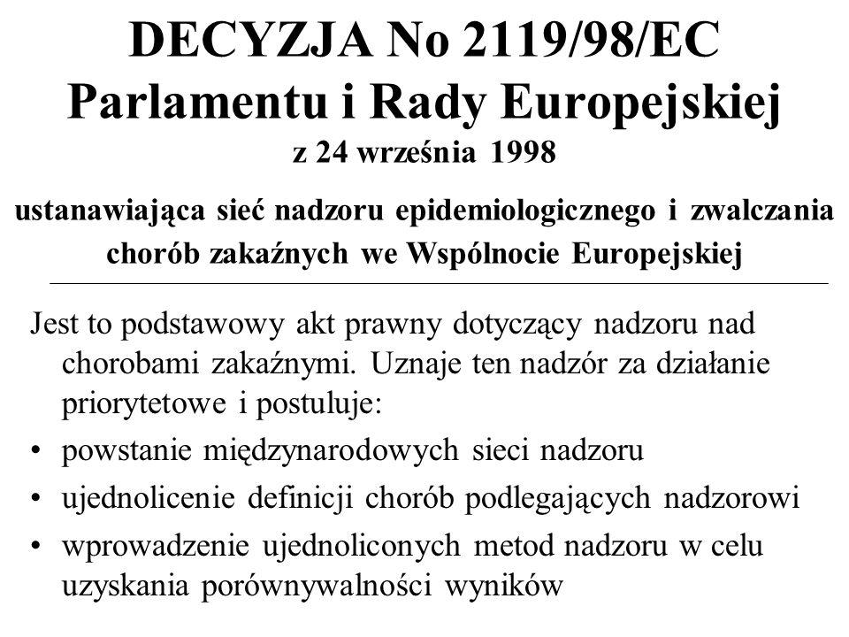 DECYZJA No 2119/98/EC Parlamentu i Rady Europejskiej z 24 września 1998 ustanawiająca sieć nadzoru epidemiologicznego i zwalczania chorób zakaźnych we Wspólnocie Europejskiej Jest to podstawowy akt prawny dotyczący nadzoru nad chorobami zakaźnymi.
