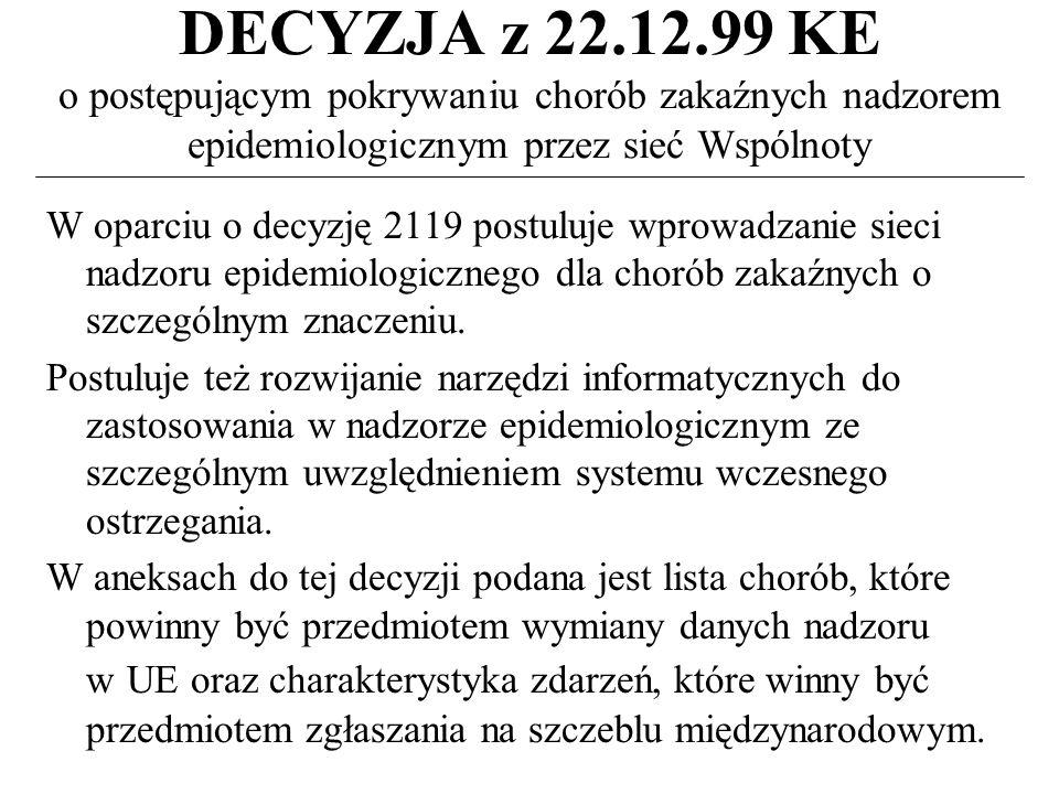 DECYZJA z 22.12.99 KE o postępującym pokrywaniu chorób zakaźnych nadzorem epidemiologicznym przez sieć Wspólnoty W oparciu o decyzję 2119 postuluje wprowadzanie sieci nadzoru epidemiologicznego dla chorób zakaźnych o szczególnym znaczeniu.