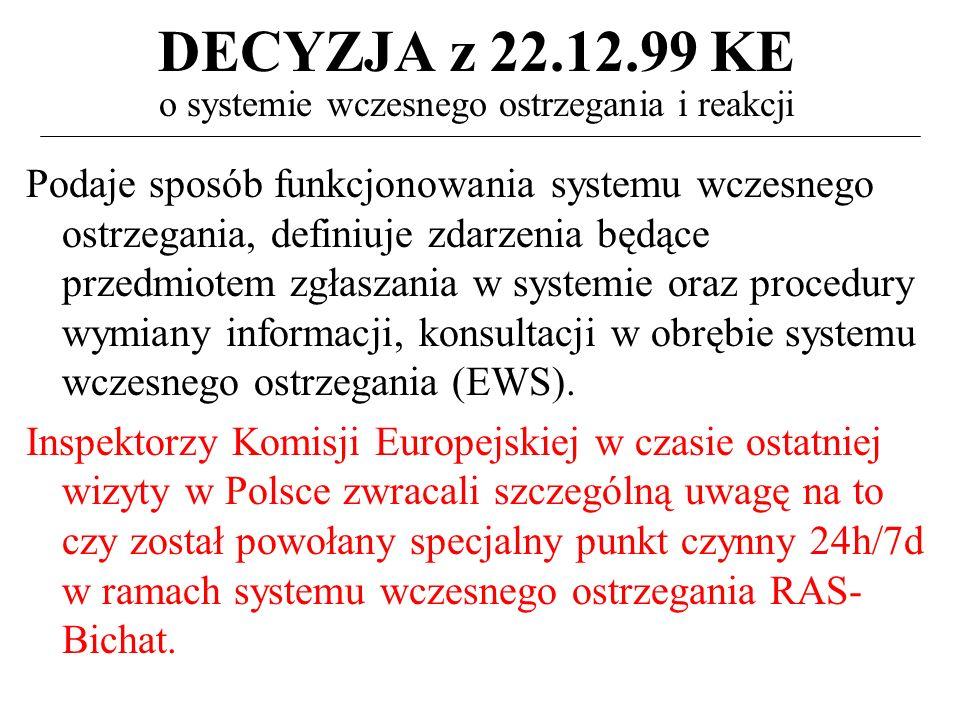DECYZJA z 22.12.99 KE o systemie wczesnego ostrzegania i reakcji Podaje sposób funkcjonowania systemu wczesnego ostrzegania, definiuje zdarzenia będące przedmiotem zgłaszania w systemie oraz procedury wymiany informacji, konsultacji w obrębie systemu wczesnego ostrzegania (EWS).