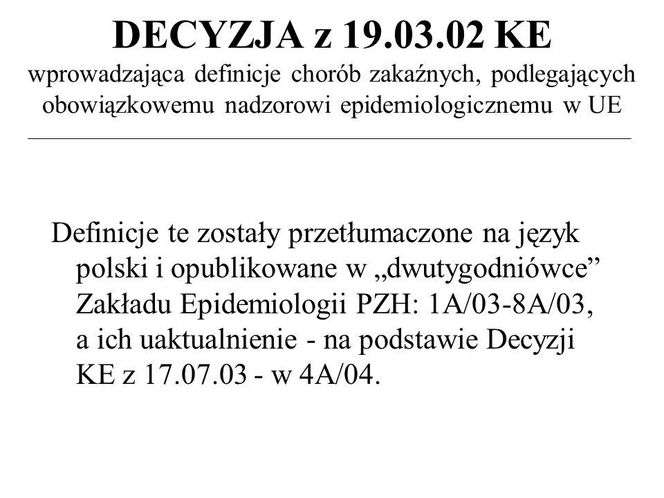 DECYZJA z 19.03.02 KE wprowadzająca definicje chorób zakaźnych, podlegających obowiązkowemu nadzorowi epidemiologicznemu w UE Definicje te zostały przetłumaczone na język polski i opublikowane w dwutygodniówce Zakładu Epidemiologii PZH: 1A/03-8A/03, a ich uaktualnienie - na podstawie Decyzji KE z 17.07.03 - w 4A/04.