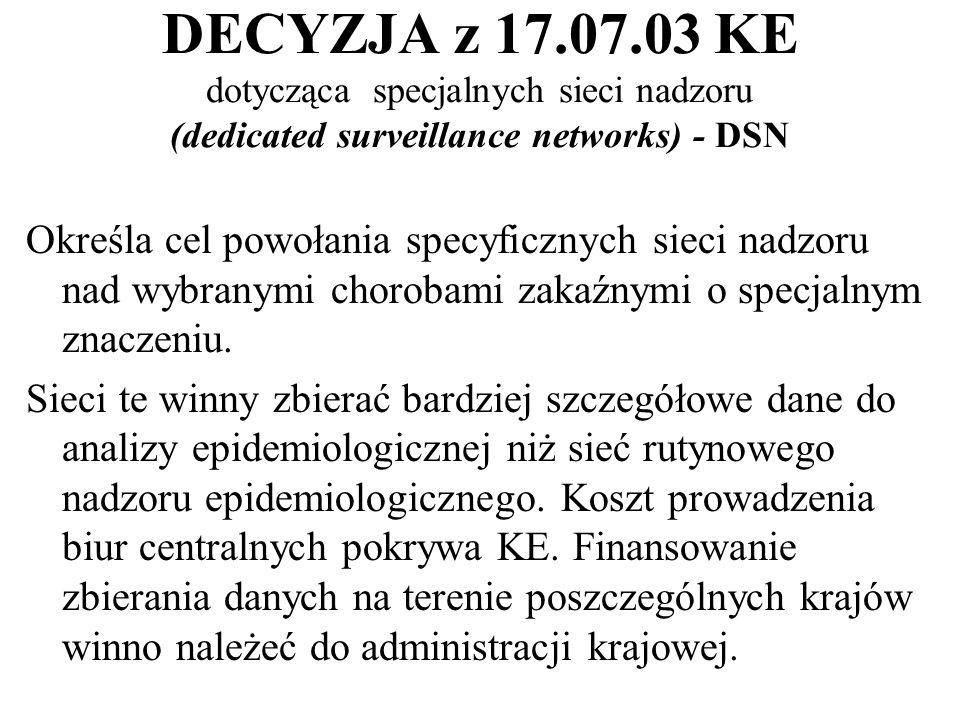 DECYZJA z 17.07.03 KE dotycząca specjalnych sieci nadzoru (dedicated surveillance networks) - DSN Określa cel powołania specyficznych sieci nadzoru nad wybranymi chorobami zakaźnymi o specjalnym znaczeniu.