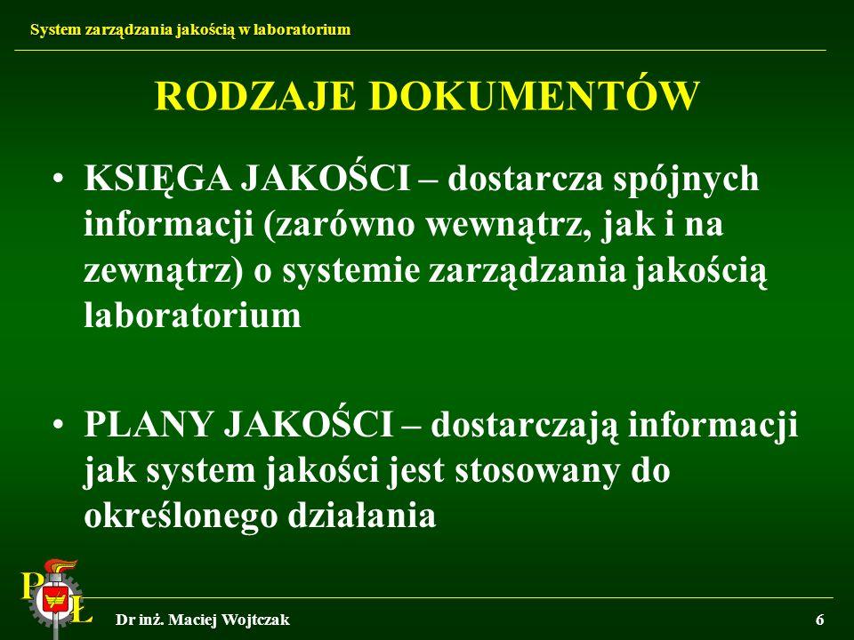 System zarządzania jakością w laboratorium Dr inż. Maciej Wojtczak6 RODZAJE DOKUMENTÓW KSIĘGA JAKOŚCI – dostarcza spójnych informacji (zarówno wewnątr