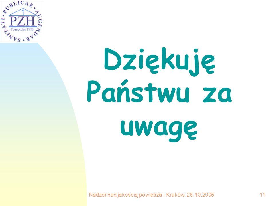 Nadzór nad jakością powietrza - Kraków, 26.10.200511 Dziękuję Państwu za uwagę