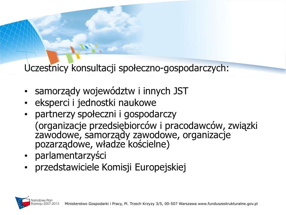 Uczestnicy konsultacji społeczno-gospodarczych: samorządy województw i innych JST eksperci i jednostki naukowe partnerzy społeczni i gospodarczy (orga