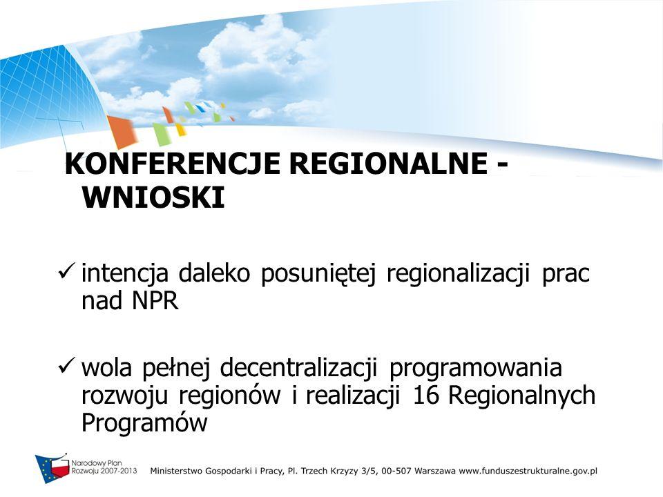 KONFERENCJE REGIONALNE - WNIOSKI intencja daleko posuniętej regionalizacji prac nad NPR wola pełnej decentralizacji programowania rozwoju regionów i r