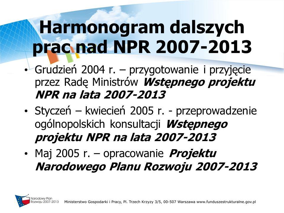 Harmonogram dalszych prac nad NPR 2007-2013 Grudzień 2004 r. – przygotowanie i przyjęcie przez Radę Ministrów Wstępnego projektu NPR na lata 2007-2013