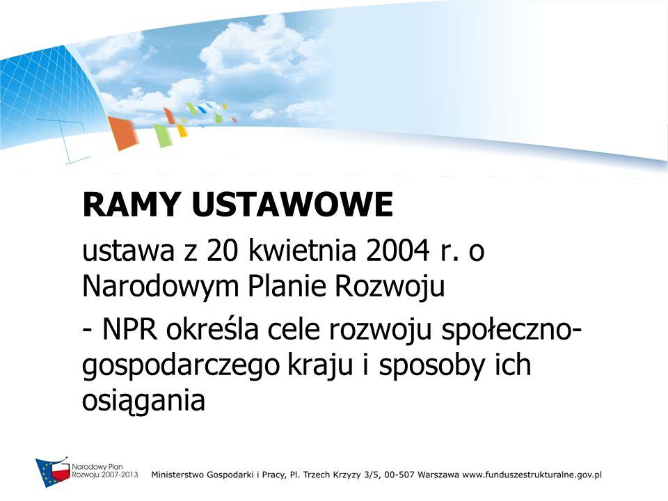 RAMY USTAWOWE ustawa z 20 kwietnia 2004 r. o Narodowym Planie Rozwoju - NPR określa cele rozwoju społeczno- gospodarczego kraju i sposoby ich osiągani