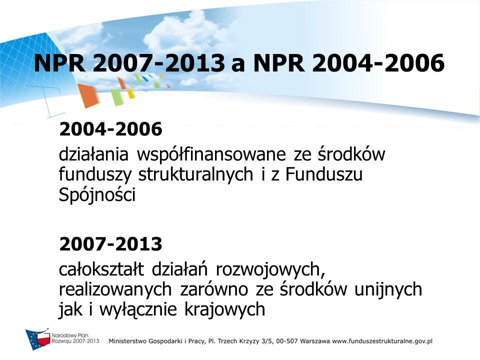 NPR 2007-2013 a NPR 2004-2006 2004-2006 działania współfinansowane ze środków funduszy strukturalnych i z Funduszu Spójności 2007-2013 całokształt dzi