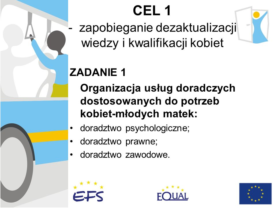 CEL 1 - zapobieganie dezaktualizacji wiedzy i kwalifikacji kobiet ZADANIE 1 Organizacja usług doradczych dostosowanych do potrzeb kobiet-młodych matek: doradztwo psychologiczne; doradztwo prawne; doradztwo zawodowe.