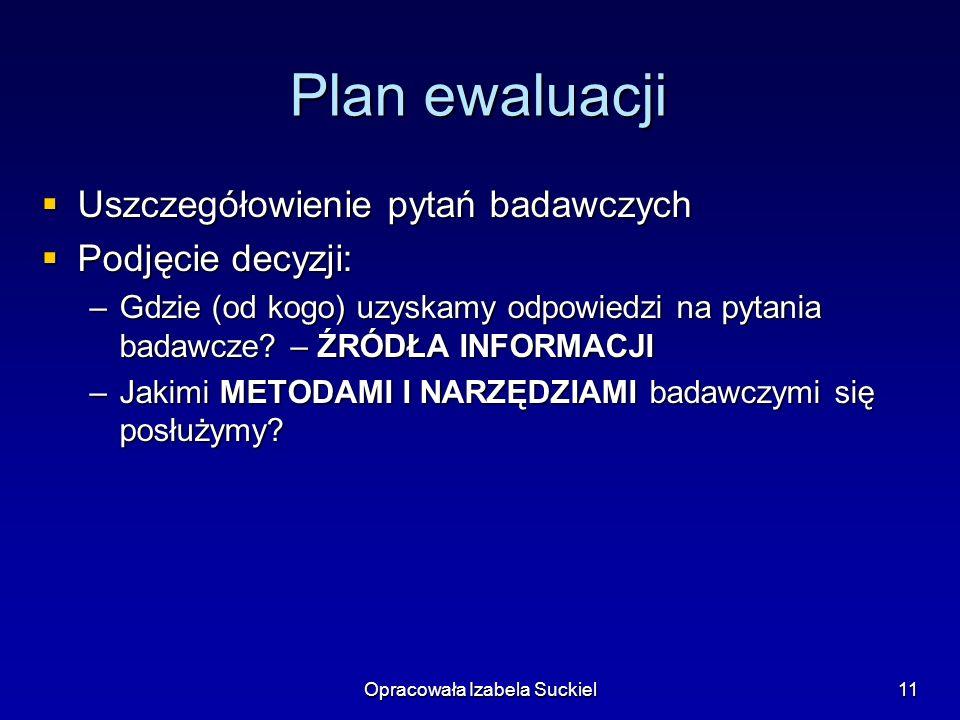 Opracowała Izabela Suckiel11 Plan ewaluacji Uszczegółowienie pytań badawczych Uszczegółowienie pytań badawczych Podjęcie decyzji: Podjęcie decyzji: –G