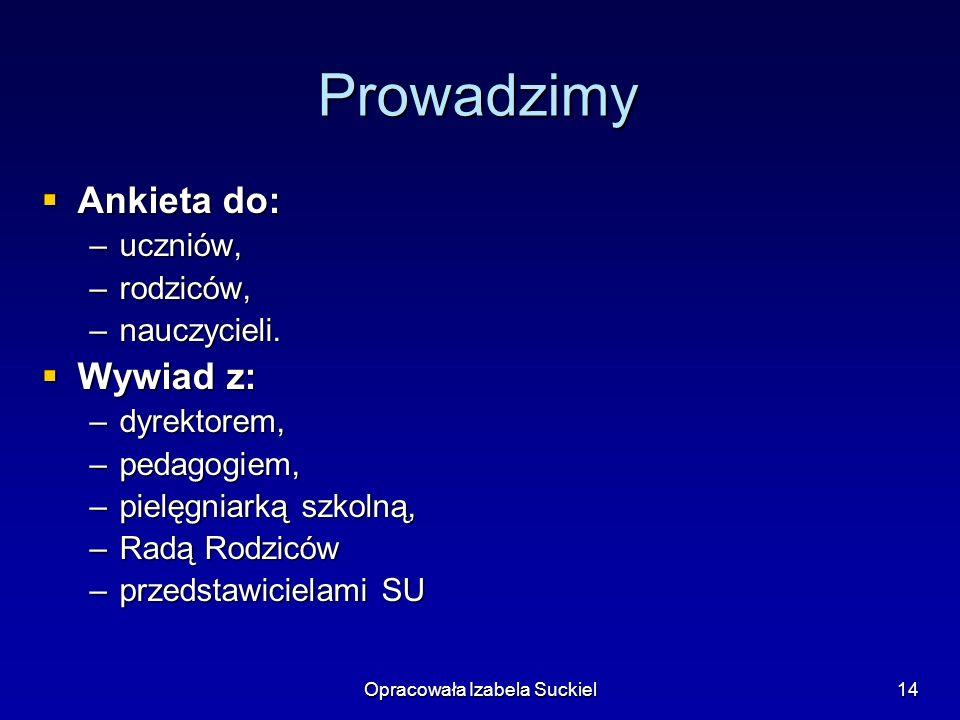 Opracowała Izabela Suckiel14 Prowadzimy Ankieta do: Ankieta do: –uczniów, –rodziców, –nauczycieli.
