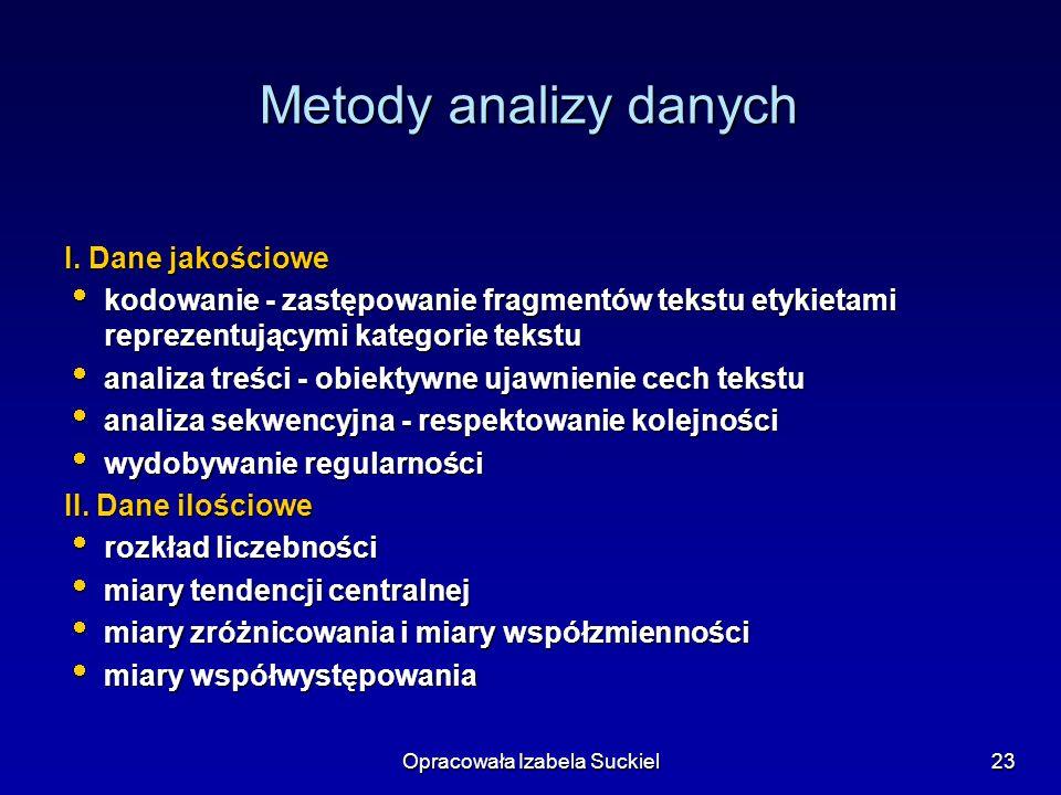 Opracowała Izabela Suckiel23 Metody analizy danych I.