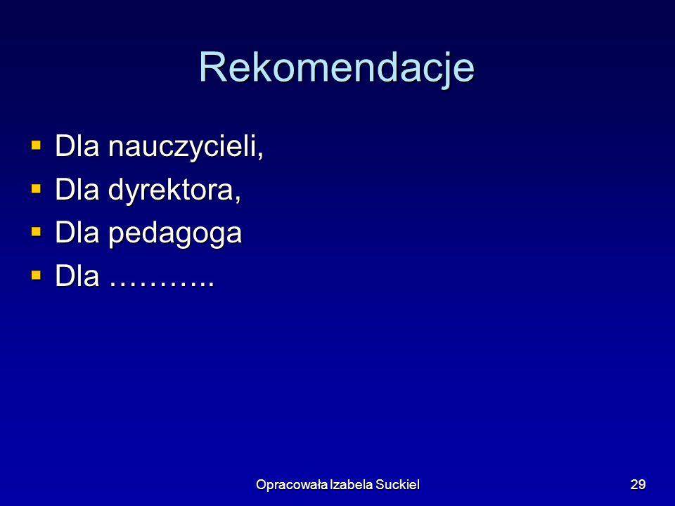 Opracowała Izabela Suckiel29 Rekomendacje Dla nauczycieli, Dla nauczycieli, Dla dyrektora, Dla dyrektora, Dla pedagoga Dla pedagoga Dla ………..
