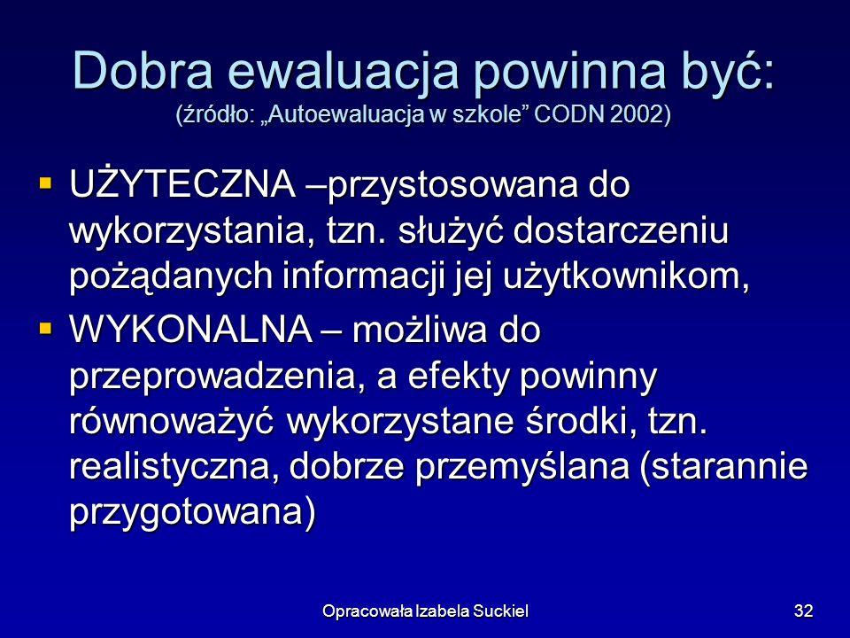 Opracowała Izabela Suckiel32 Dobra ewaluacja powinna być: (źródło: Autoewaluacja w szkole CODN 2002) UŻYTECZNA –przystosowana do wykorzystania, tzn.