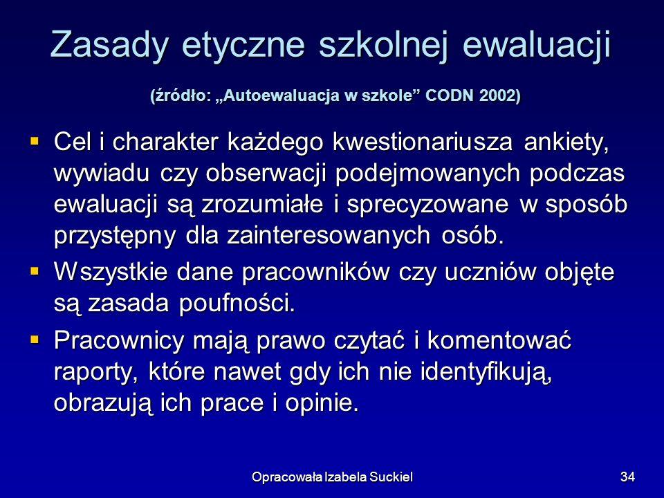 Opracowała Izabela Suckiel34 Zasady etyczne szkolnej ewaluacji (źródło: Autoewaluacja w szkole CODN 2002) Cel i charakter każdego kwestionariusza anki