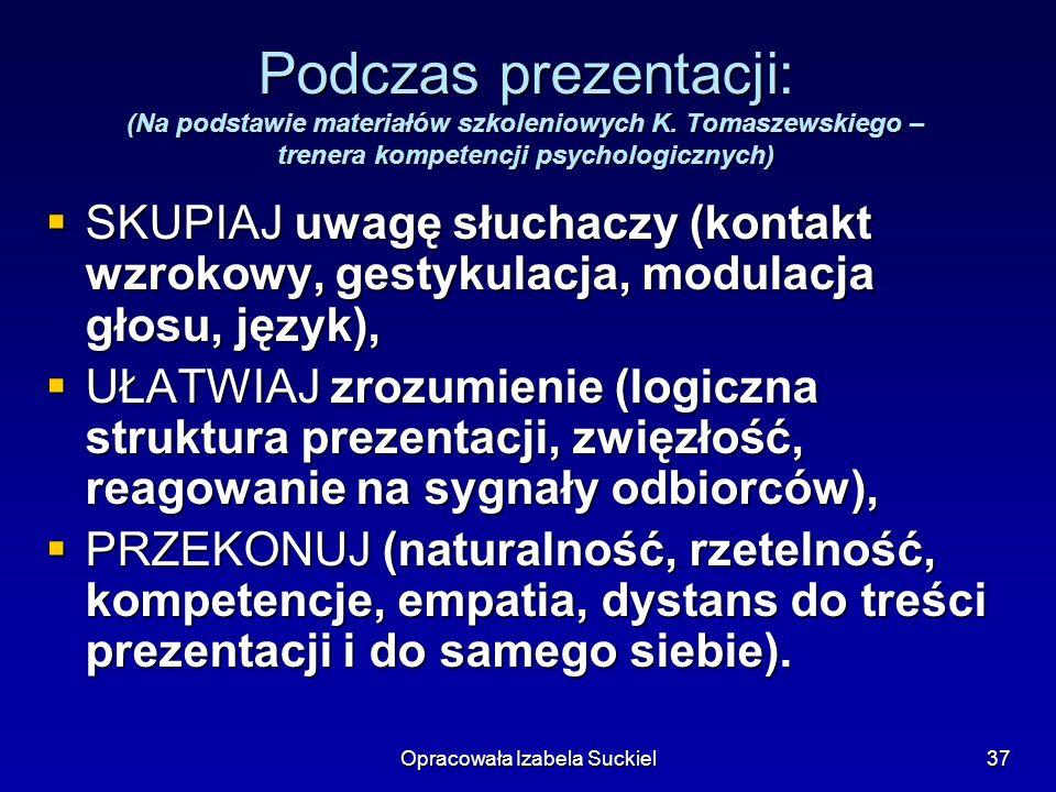 Opracowała Izabela Suckiel37 Podczas prezentacji: (Na podstawie materiałów szkoleniowych K. Tomaszewskiego – trenera kompetencji psychologicznych) SKU