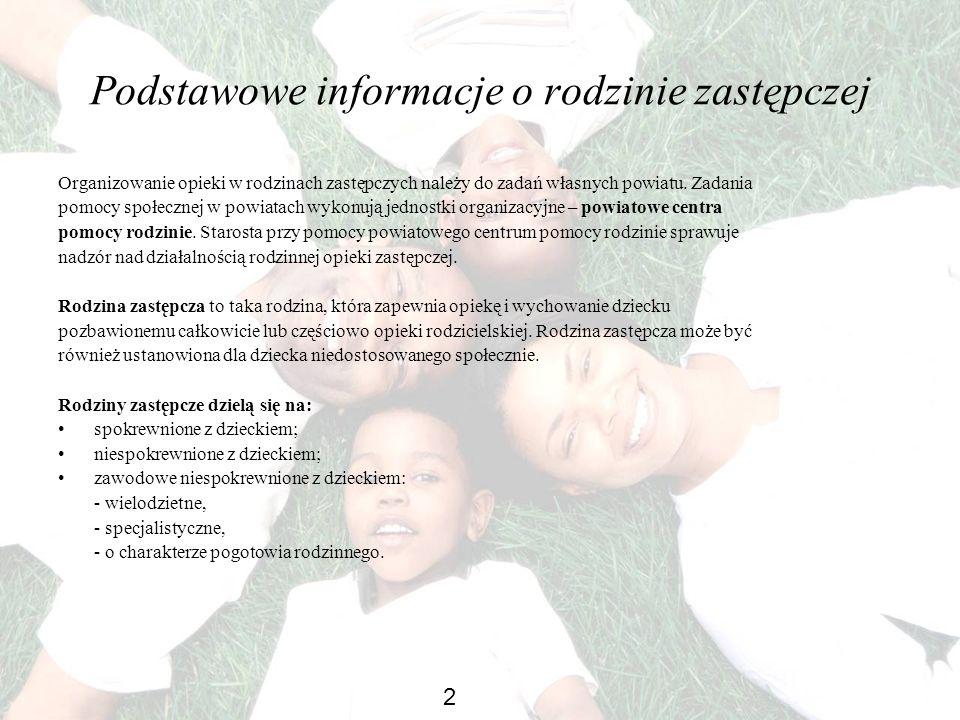 Podstawowe informacje o rodzinie zastępczej Organizowanie opieki w rodzinach zastępczych należy do zadań własnych powiatu. Zadania pomocy społecznej w