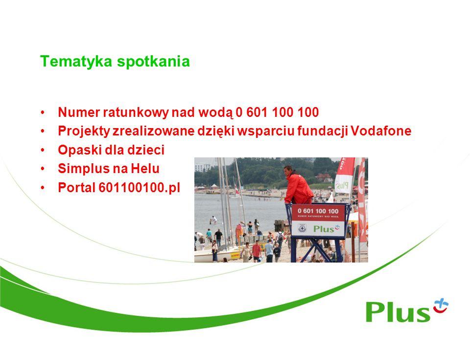 Tematyka spotkania Numer ratunkowy nad wodą 0 601 100 100 Projekty zrealizowane dzięki wsparciu fundacji Vodafone Opaski dla dzieci Simplus na Helu Po