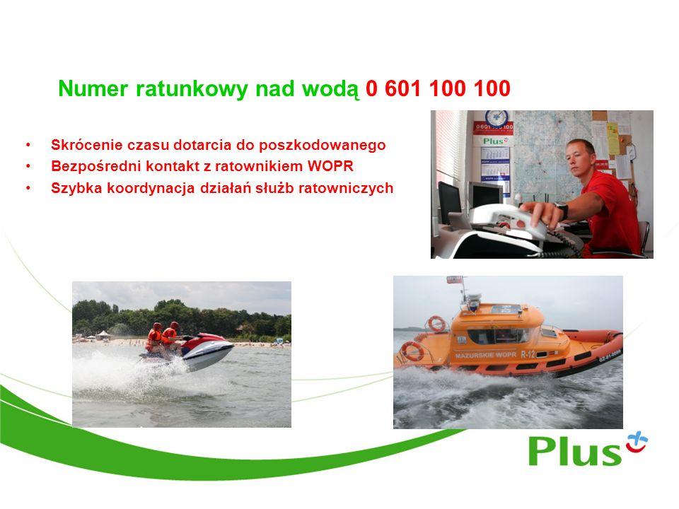 Numer ratunkowy nad wodą 0 601 100 100 Skrócenie czasu dotarcia do poszkodowanego Bezpośredni kontakt z ratownikiem WOPR Szybka koordynacja działań sł