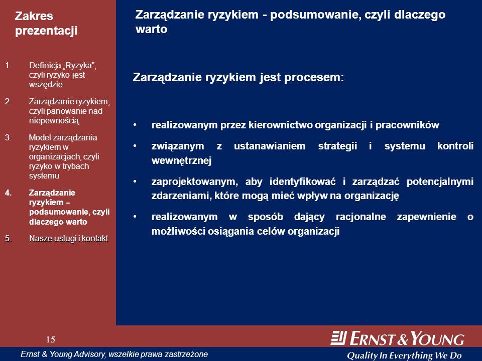 15 Zakres prezentacji 15 Ernst & Young Advisory, wszelkie prawa zastrzeżone 15 Zarządzanie ryzykiem - podsumowanie, czyli dlaczego warto Zarządzanie r