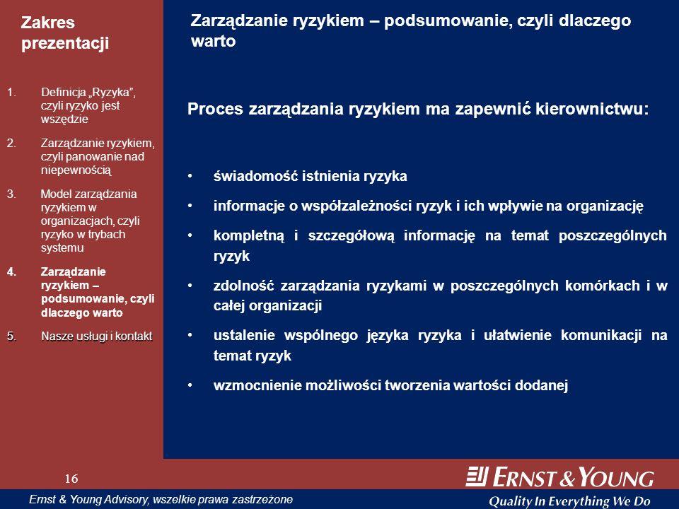 16 Zakres prezentacji 16 Ernst & Young Advisory, wszelkie prawa zastrzeżone 16 Zarządzanie ryzykiem – podsumowanie, czyli dlaczego warto Proces zarząd