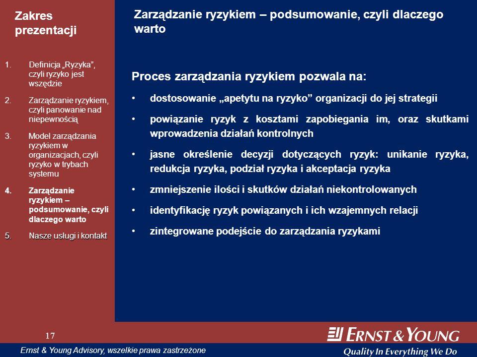 17 Zakres prezentacji 17 Ernst & Young Advisory, wszelkie prawa zastrzeżone 17 Zarządzanie ryzykiem – podsumowanie, czyli dlaczego warto Proces zarząd