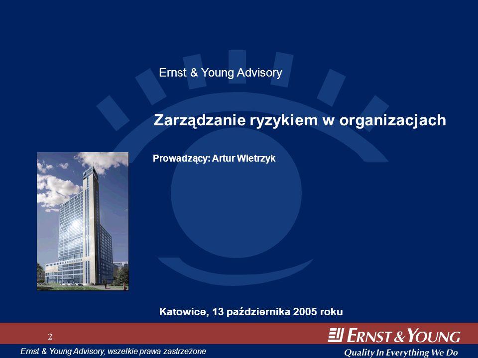 Materiały szkoleniowe, wszelkie prawa zastrzeżone 2 Ernst & Young Advisory, wszelkie prawa zastrzeżone 2 Zarządzanie ryzykiem w organizacjach Katowice