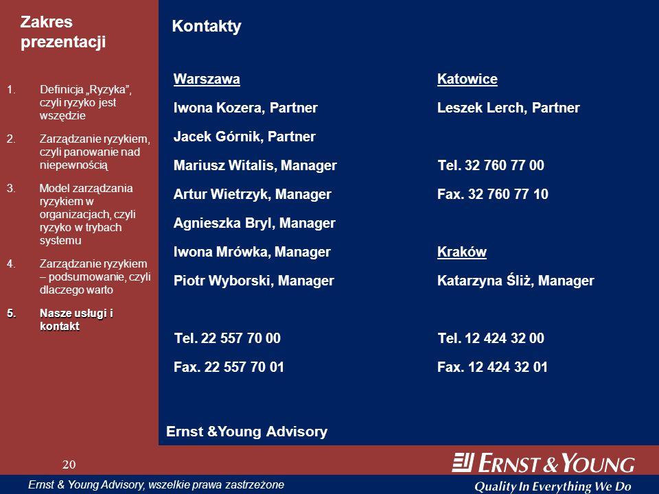 20 Zakres prezentacji 20 Ernst & Young Advisory, wszelkie prawa zastrzeżone 20 Kontakty WarszawaKatowice Iwona Kozera, PartnerLeszek Lerch, Partner Ja