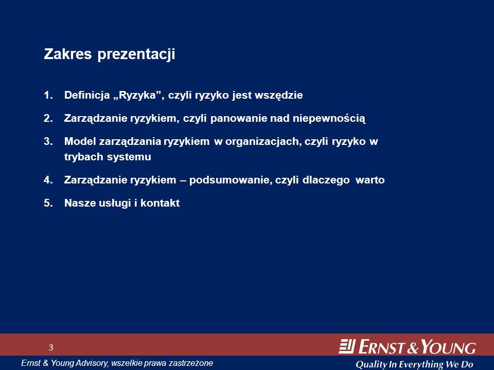 Ernst & Young Advisory, wszelkie prawa zastrzeżone Zakres prezentacji 1.Definicja Ryzyka, czyli ryzyko jest wszędzie 2.Zarządzanie ryzykiem, czyli pan