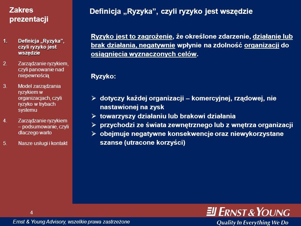 4 Zakres prezentacji 4 Ernst & Young Advisory, wszelkie prawa zastrzeżone 4 Definicja Ryzyka, czyli ryzyko jest wszędzie Ryzyko jest to zagrożenie, że