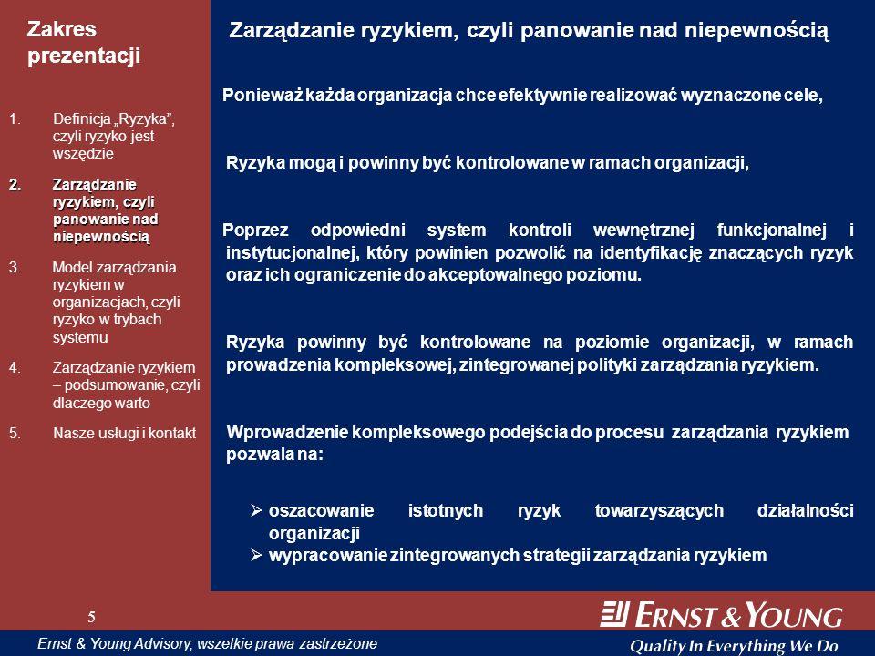 5 Zakres prezentacji 5 Ernst & Young Advisory, wszelkie prawa zastrzeżone 5 Zarządzanie ryzykiem, czyli panowanie nad niepewnością Ponieważ każda orga