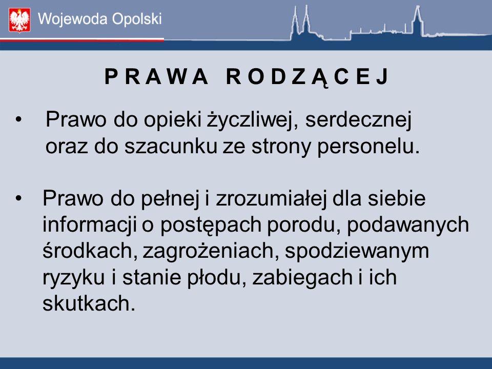P R A W A R O D Z Ą C E J Prawo do opieki życzliwej, serdecznej oraz do szacunku ze strony personelu. Prawo do pełnej i zrozumiałej dla siebie informa