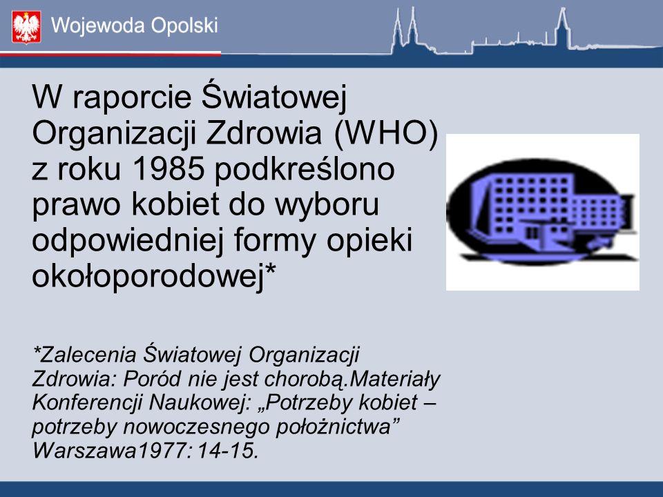 W raporcie Światowej Organizacji Zdrowia (WHO) z roku 1985 podkreślono prawo kobiet do wyboru odpowiedniej formy opieki okołoporodowej* *Zalecenia Świ