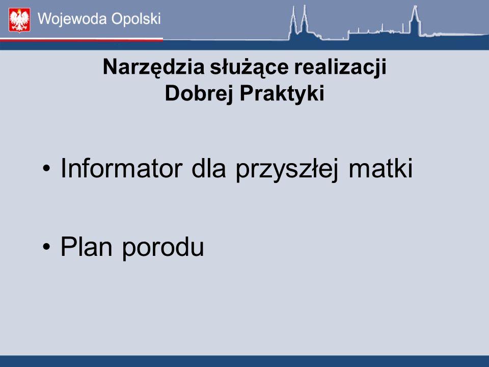 Narzędzia służące realizacji Dobrej Praktyki Informator dla przyszłej matki Plan porodu
