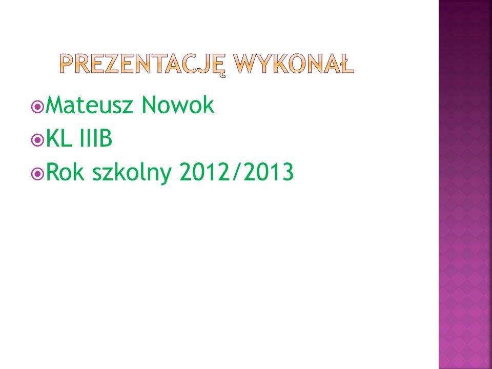 Mateusz Nowok KL IIIB Rok szkolny 2012/2013
