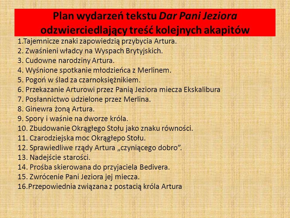 Plan wydarzeń tekstu Dar Pani Jeziora odzwierciedlający treść kolejnych akapitów 1.Tajemnicze znaki zapowiedzią przybycia Artura. 2. Zwaśnieni władcy