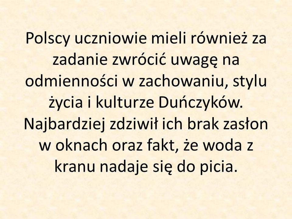 Polscy uczniowie mieli również za zadanie zwrócić uwagę na odmienności w zachowaniu, stylu życia i kulturze Duńczyków.