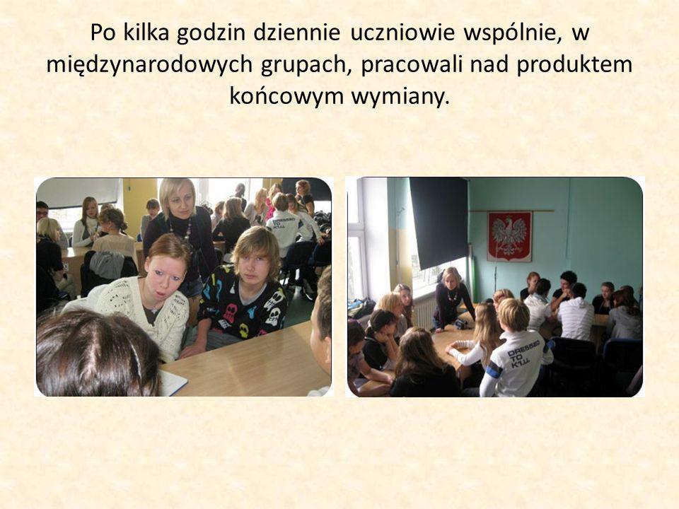 Po kilka godzin dziennie uczniowie wspólnie, w międzynarodowych grupach, pracowali nad produktem końcowym wymiany.