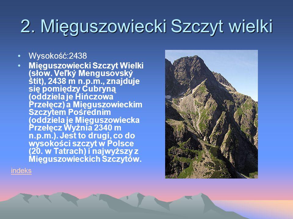 2.Mięguszowiecki Szczyt wielki Wysokość:2438 Mięguszowiecki Szczyt Wielki (słow.